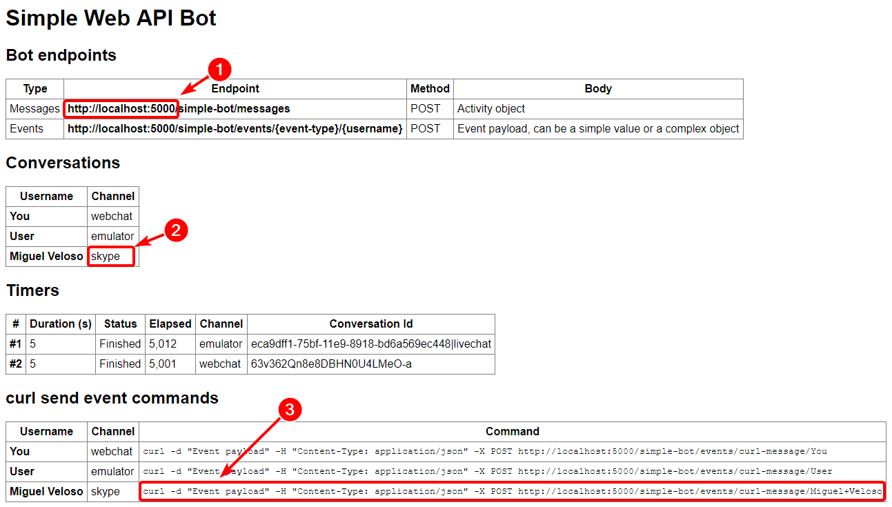 How to receive events in a Bot Framework SDK v4 Web API bot